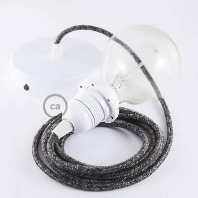 Pendel für Lampenschirm, Hängelampe Antrazit natürlichem Leinen RN03