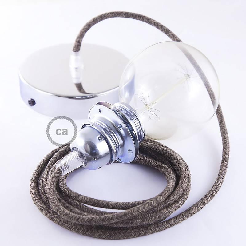 Pendel für Lampenschirm, Hängelampe Braun natürlichem Leinen RN04