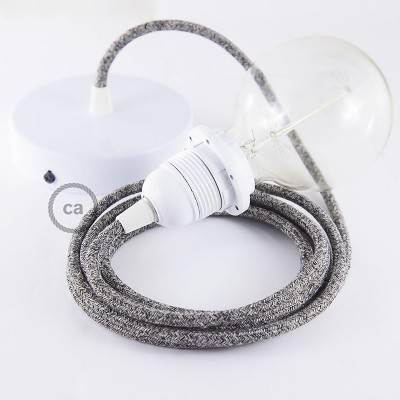 Pendel für Lampenschirm, Hängelampe Schwarz Geglittert natürlichem Leinen RS81