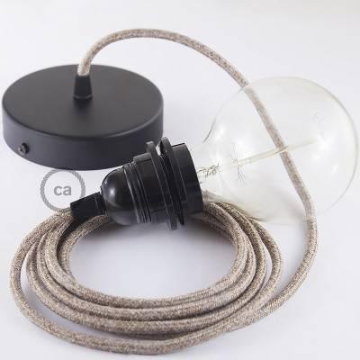 Pendel für Lampenschirm, Hängelampe Braun Geglittert natürlichem Leinen RS82
