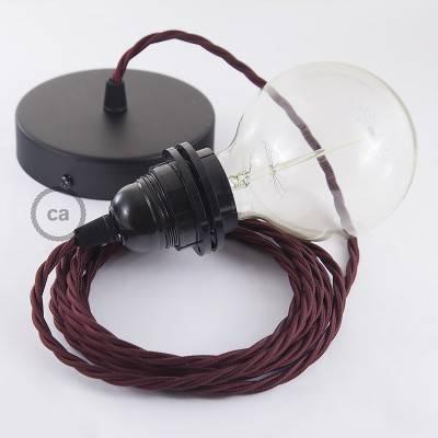 Pendel für Lampenschirm, Hängelampe Bordeaux Seideneffekt TM19