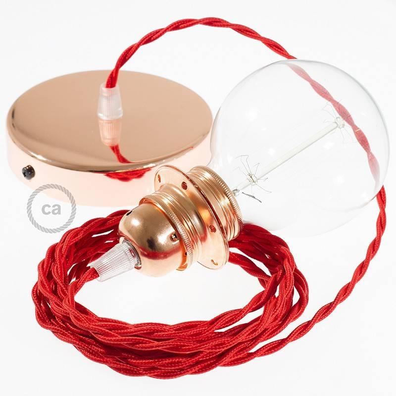 pendel f r lampenschirm h ngelampe rot seideneffekt tm09. Black Bedroom Furniture Sets. Home Design Ideas