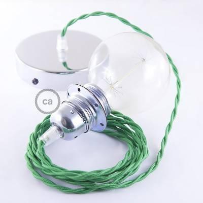 Pendel für Lampenschirm, Hängelampe Grün Seideneffekt TM06