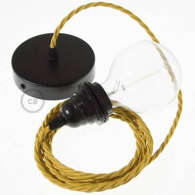 Pendel für Lampenschirm, Hängelampe Senf Seideneffekt TM25