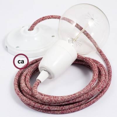 Porzellan Pendelleuchte, Hängelampe Rot Geglittert natürlichem Leinen RS83