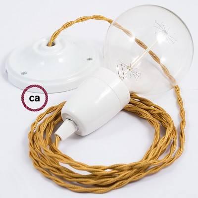 Porzellan Pendelleuchte, Hängelampe Gold Seideneffekt TM05