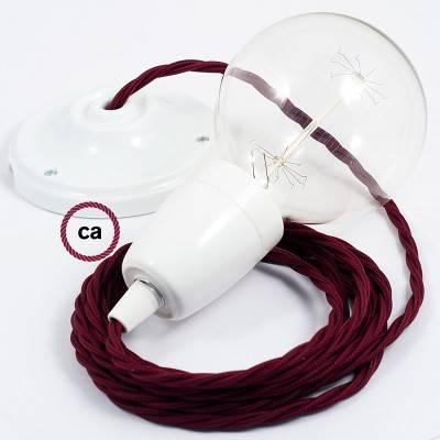 Porzellan Pendelleuchte, Hängelampe Bordeaux Seideneffekt TM19