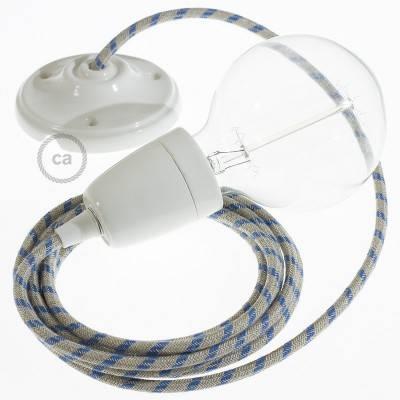 Porzellan Pendelleuchte, Hängelampe Stripes Blau RD55
