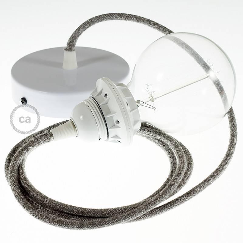 Pendel für Lampenschirm, Hängelampe Grau natürlichem Leinen RN02