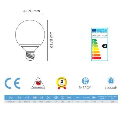Energiesparlampe Globo 120 25W E27