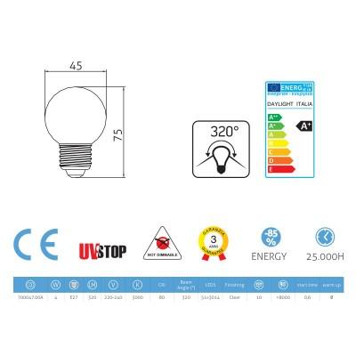 LED-Glühbirne 4W E27, transparent kugelförmig