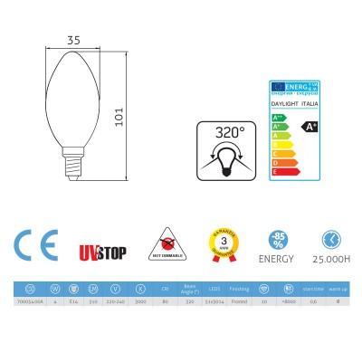 LED-Glühbirne 4W E14, milch ovalförmig