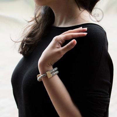 Armband aus Baumwolle und natürlichen Leinen Farbe:Raute Anthrazit RD64 Verschluss:verstellbar