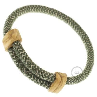 Armband aus Baumwolle und natürlichen Leinen Farbe: Zick Zack Thymian Grün RD72 Verschluss: verstellbar