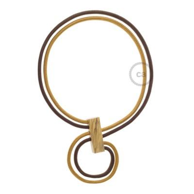 Kabel Collier Halskette Infinity, zweifarbig in Whiskey RM22 und RM13 braun