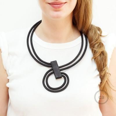 Kabel Collier Halskette Infinity, zweifarbig in Geglittert Schwarz RL04.