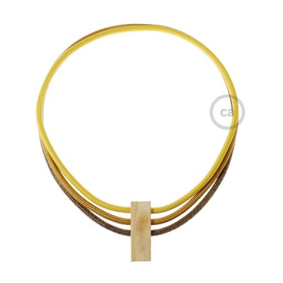 Kabel Collier Circles in Senf RM25, Whiskey RM22 und Geglittert Braun RL13.