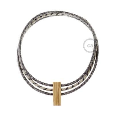 Kabel Collier Circles in Anthrazit und natürliche Leinen RD74 und Anthrazit Baumwolle RD54.