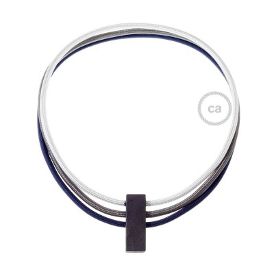 Kabel Collier Circles in Silber RM02, Dunkelgrau RM26 und Dunkelbalu RM20.
