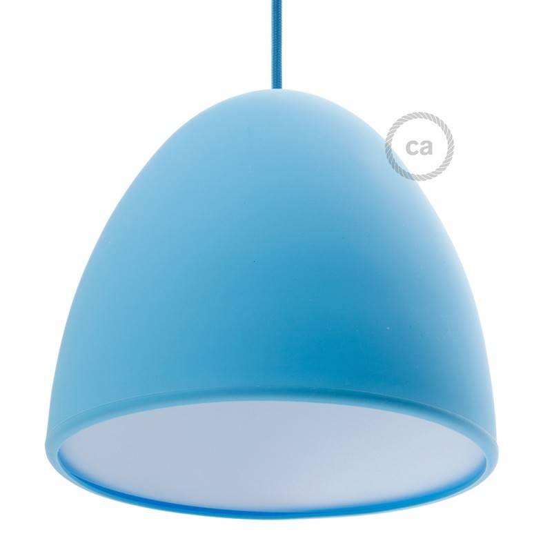 Silikon-Lampenschirm hellblau ink Diffuser und Zugentlastung. 25 cm Durchmesser.
