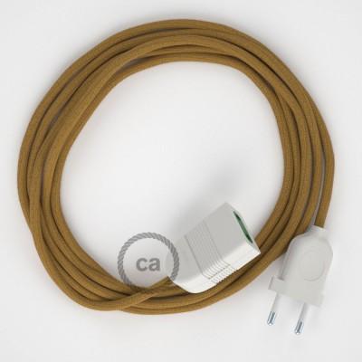 Textil Verlängerungskabel Baumwolle Goldener Honig RC31 (2P 10A) Made in Italy.