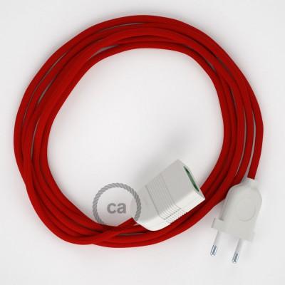 Textil Verlängerungskabel Seideneffekt Rot RM09 (2P 10A) Made in Italy.