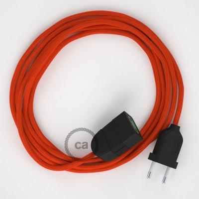 Textil Verlängerungskabel Seideneffekt Orange RM15 (2P 10A) Made in Italy.