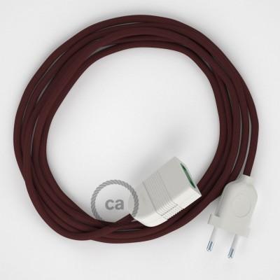 Textil Verlängerungskabel Seideneffekt Bordeaux RM19 (2P 10A) Made in Italy.