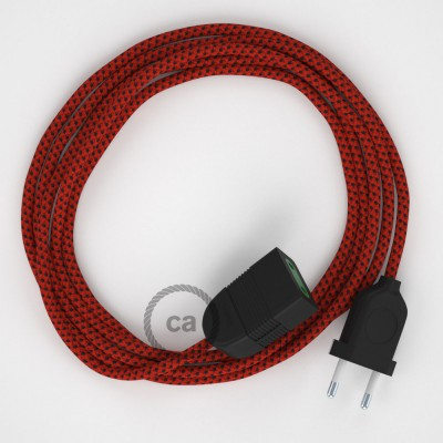 Textil Verlängerungskabel Seideneffekt Red Devil RT94 (2P 10A) Made in Italy.