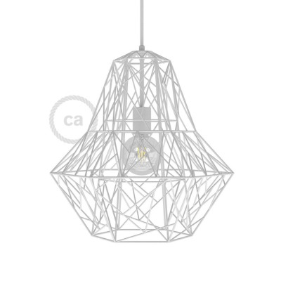 Lampenschirmkäfig XXL Darth metall weiß für E27 Fassungen