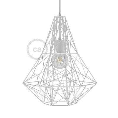 Lampenschirmkäfig XXL Mercury metall weiß für E27 Fassungen