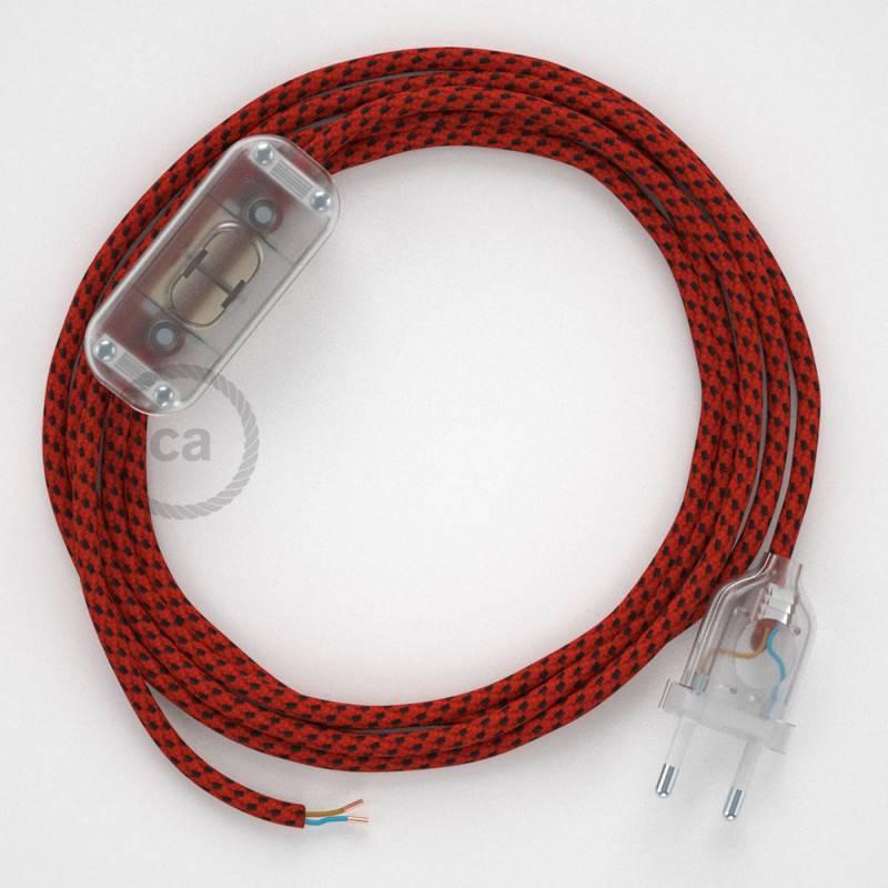 Zuleitung für Tischleuchten RT94 Red Devil Seideneffekt 1,80 m. Wählen Sie aus drei Farben bei Schalter und Stecke.