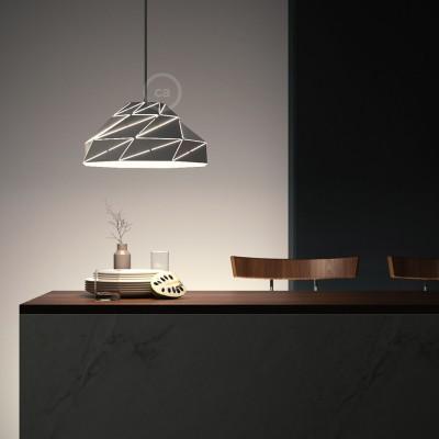 Lampenschirm Nuvola weiß-glänzend Metall mit E27 Fassung.