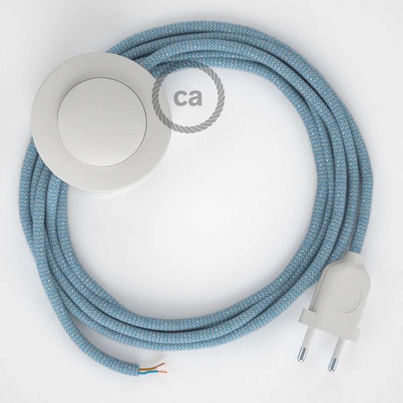 Stehleuchte Anschlussleitung RD75 Zick-Zack Blau 3 m. Wählen Sie aus drei Farben bei Schalter und Stecke.