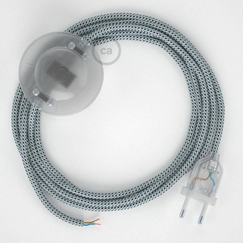 Stehleuchte Anschlussleitung RT14 Weiß-Schwarz Seideneffekt 3 m. Wählen Sie aus drei Farben bei Schalter und Stecke.