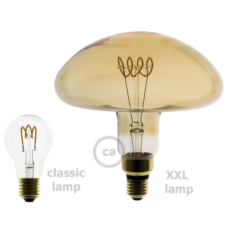 LED-Glühbirne XXL 5W E27, gold Pilz Curved, Vintage 2200K, dimmbar