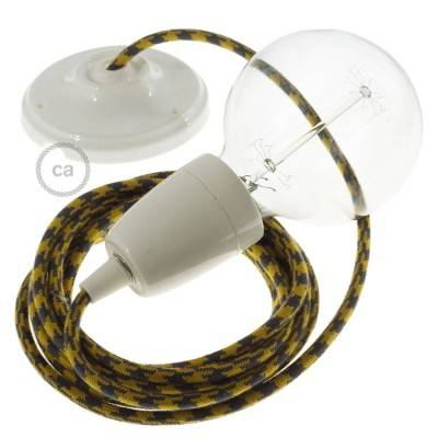 Porzellan Pendelleuchte, Hängelampe Zweifarbig Goldener Honig und Anthrazit Baumwolle RP27