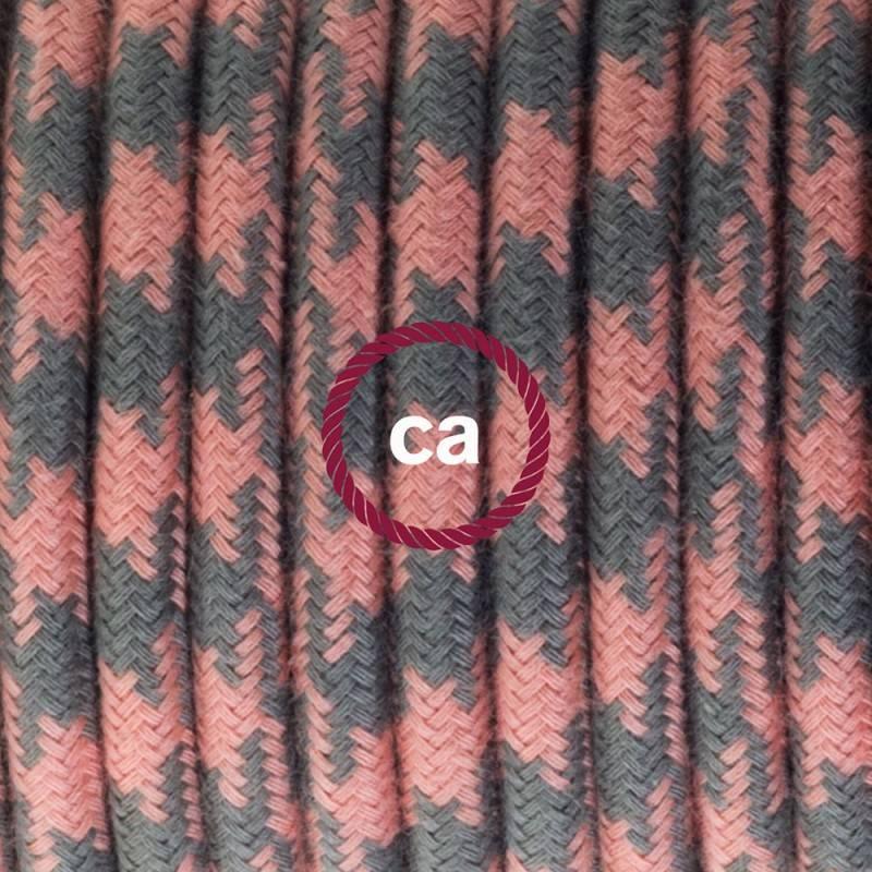 Einzelpendel, Hängelampe Zweifarbig Antik-Rosa und Grau Baumwolle RP26