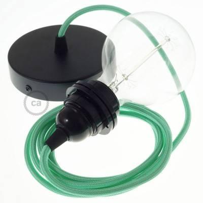 Pendel für Lampenschirm, Hängelampe Opalgrün Seideneffekt RH69