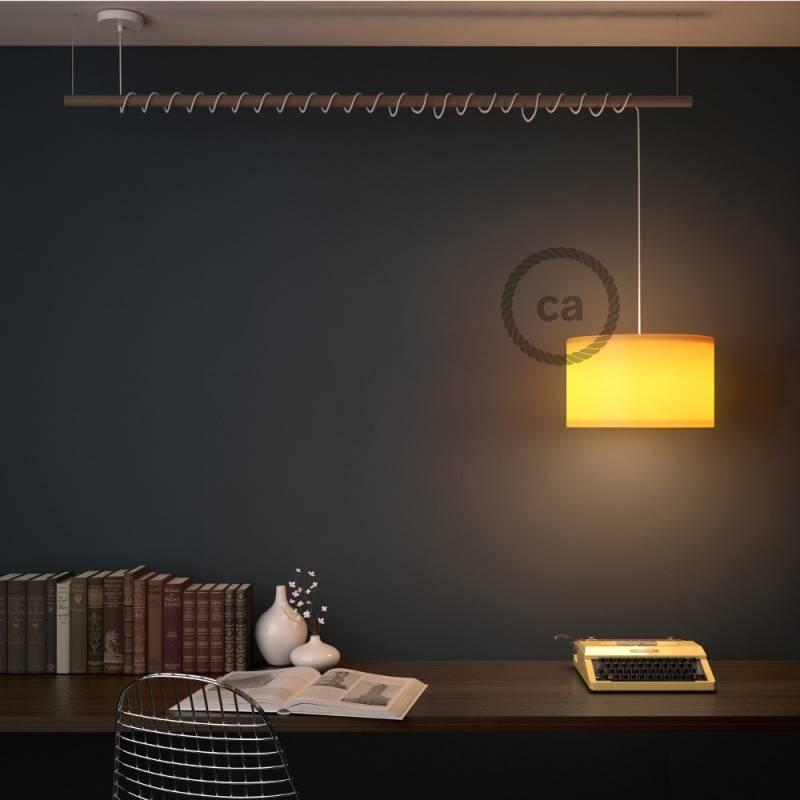 Pendel für Lampenschirm, Hängelampe Zweifarbig Goldener Honig und Anthrazit Baumwolle RP27