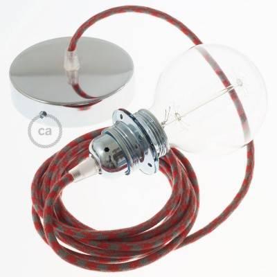 Pendel für Lampenschirm, Hängelampe Zweifarbig Feuerrot und Grau Baumwolle RP28