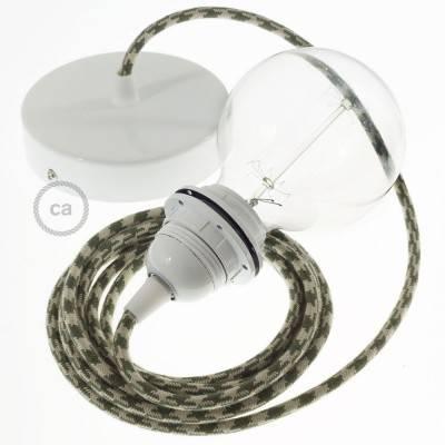 Pendel für Lampenschirm, Hängelampe Zweifarbig Thymian-Grün und Taubengrau Baumwolle RP30