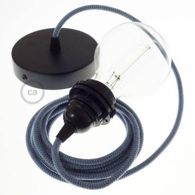 Pendel für Lampenschirm, Hängelampe Zick Zack Ocean und Steingrau Baumwolle RZ25