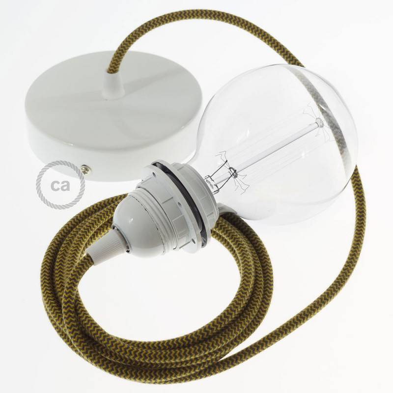 Pendel für Lampenschirm, Hängelampe Zick Zack Goldener Honig und Anthrazit Baumwolle RZ27