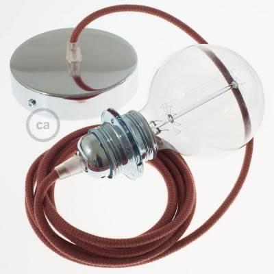 Pendel für Lampenschirm, Hängelampe Zick Zack Feuerrot und Grau Baumwolle RZ28