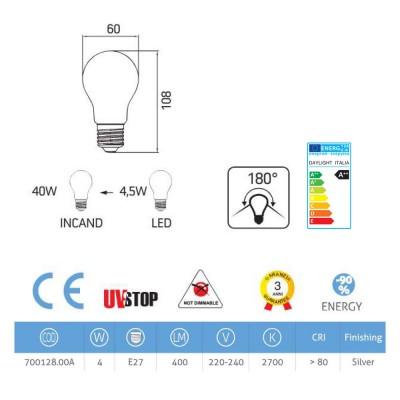 LED-Glühbirne Kugel silber 4W E27 2700K