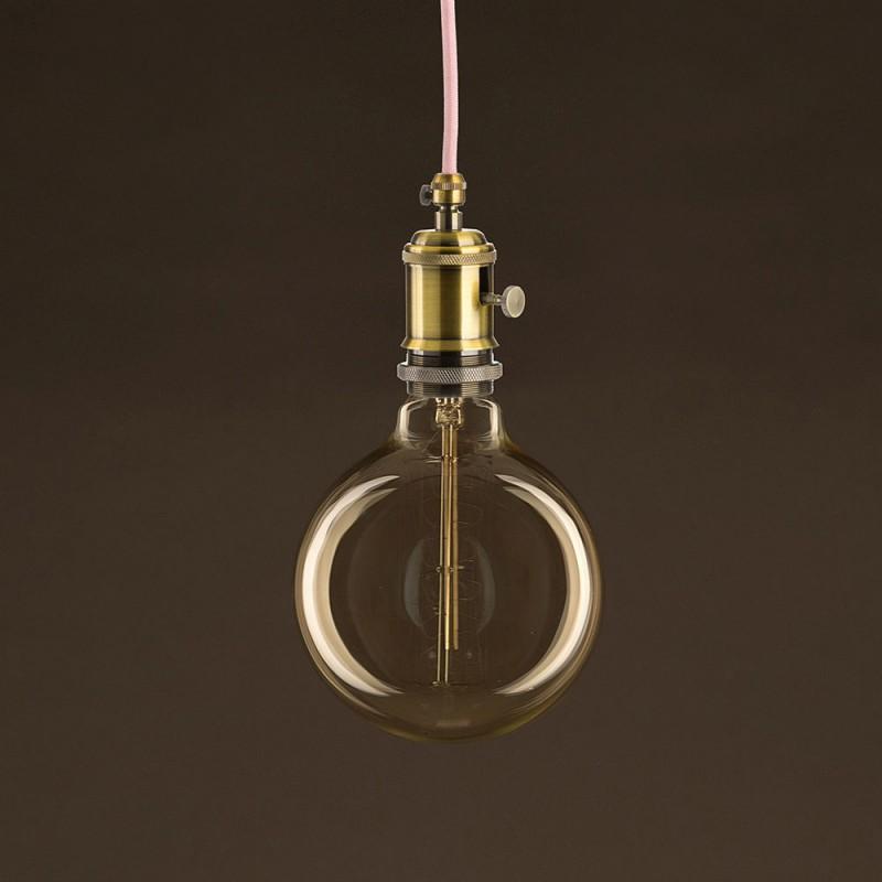 Vintage Glühbirne gold Globo G125 Curved Spirale Filament Kohlefaden 30W E27 dimmbar 2000K