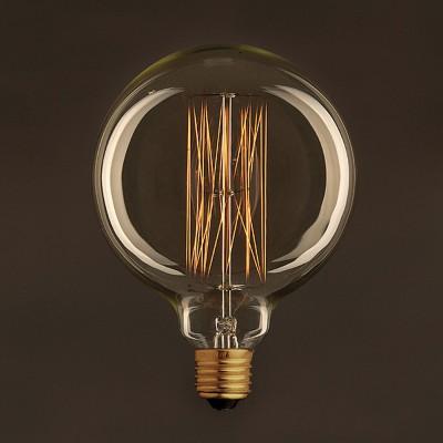 Vintage Glühbirne gold Globo G125 vertikaler Kohlefaden 25W E27 dimmbar 2000K