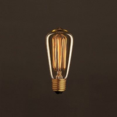 Vintage Glühbirne gold Edison ST48 verkreuzter Kohlefaden 30W E27 dimmbar 2000K