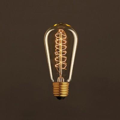 Vintage Glühbirne gold Edison ST58 Filament doppelte Spirale Kohlefaden 25W E27 dimmbar 2000K